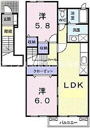 エレガント プリムローズ B棟 2階2LDKの間取り