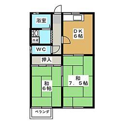 第2若松荘[2階]の間取り