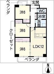 パークサイド雁宿 2号館[7階]の間取り