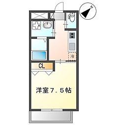 沖縄都市モノレール 安里駅 徒歩10分の賃貸マンション 1階1Kの間取り