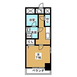 アクアコート大曽根 2階1Kの間取り