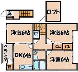 広島県安芸郡海田町西浜の賃貸アパートの間取り