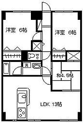 野中マンション[405号室]の間取り