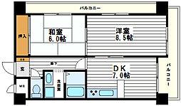 大阪府大阪市天王寺区上本町5丁目の賃貸マンションの間取り