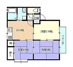 セジュール西川B棟[1階]の間取り
