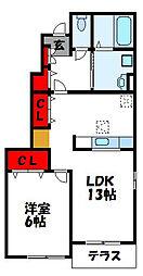 グランドヒルズ II 1階1LDKの間取り