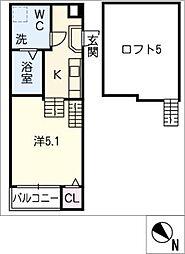 愛知県名古屋市昭和区川名町5丁目の賃貸アパートの間取り