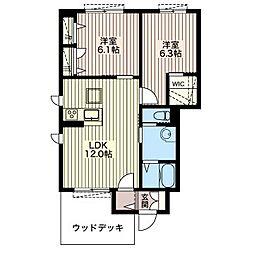 フラワータウン C[1階]の間取り