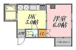 広島県広島市中区白島九軒町の賃貸マンションの間取り