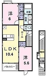 カーサ チェーロ ブル II[2階]の間取り