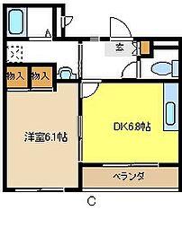 愛知県日進市折戸町定納の賃貸マンションの間取り