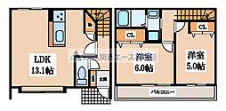[テラスハウス] 大阪府東大阪市長堂2丁目 の賃貸【大阪府 / 東大阪市】の間取り