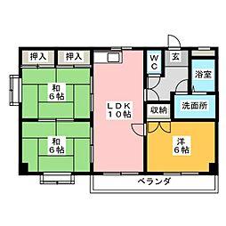 愛知県名古屋市中川区中島新町1丁目の賃貸マンションの間取り