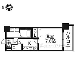 レジデンス京都ゲートシティ506 5階1Kの間取り