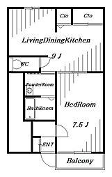 ウエストリバーA棟[1階]の間取り