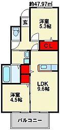 ルミエール B 1階2LDKの間取り