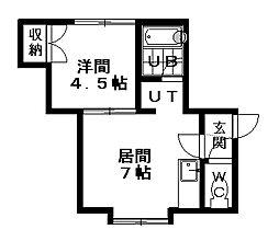 札幌市営南北線 自衛隊前駅 徒歩4分の賃貸アパート 3階1DKの間取り