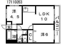 コーポ水都[2階]の間取り