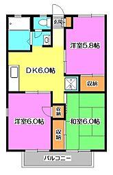 東京都練馬区西大泉6丁目の賃貸アパートの間取り