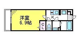 JR中央線 武蔵境駅 徒歩18分の賃貸マンション 2階1Kの間取り