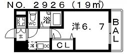 シグネット阿倍野[603号室号室]の間取り