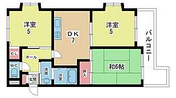 大阪府豊中市春日町5丁目の賃貸マンションの間取り