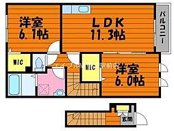 岡山県倉敷市林の賃貸アパートの間取り