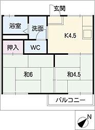 ヴュー梅森台[2階]の間取り