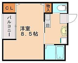 伊岐須ベルエア九工大 1階1Kの間取り