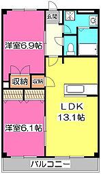 埼玉県所沢市大字松郷の賃貸マンションの間取り