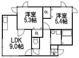 北海道札幌市西区八軒五条西3丁目の賃貸アパートの間取り