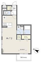 リヴェール草加松原 3階ワンルームの間取り