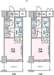 ロイジェントパークス赤坂 2階1Kの間取り