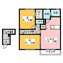 2CV駿河台 D[2階]の間取り