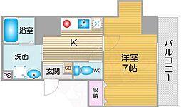 南海線 天下茶屋駅 徒歩8分の賃貸マンション 5階1Kの間取り