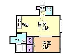 Casa Feliz1条 1階1DKの間取り