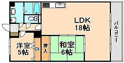 兵庫県伊丹市南野北1丁目の賃貸マンションの間取り