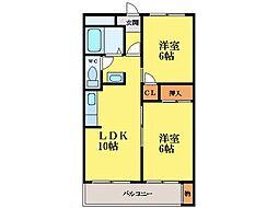 徳島県徳島市南末広町の賃貸マンションの間取り
