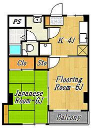 第1田中マンション[4階]の間取り