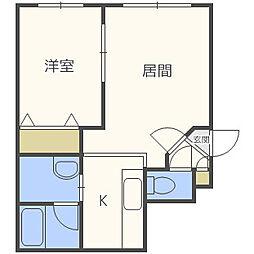 北海道札幌市中央区南八条西11丁目の賃貸アパートの間取り
