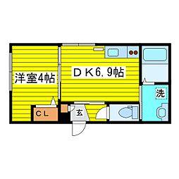 北海道札幌市東区北十四条東9丁目の賃貸マンションの間取り