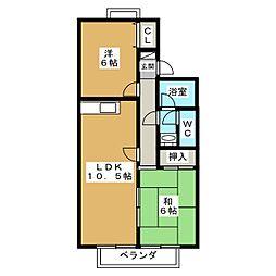 セジュール鹿ノ下[2階]の間取り
