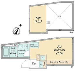 南大塚1丁目新築マンション 5階ワンルームの間取り