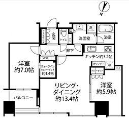 JR山手線 大崎駅 徒歩3分の賃貸マンション 27階2LDKの間取り
