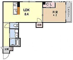 プログレーッソ西ノ京 3階1LDKの間取り