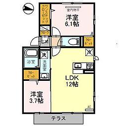 近鉄南大阪線 布忍駅 徒歩3分の賃貸アパート 1階2LDKの間取り