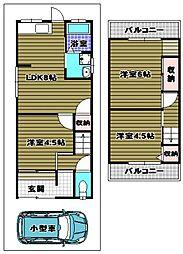 [一戸建] 大阪府大阪狭山市東野西1丁目 の賃貸【/】の間取り