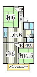 コーポ齊藤[1階]の間取り