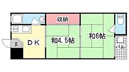 岩田屋マンション[202号室]の間取り