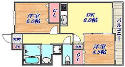 アバンセ六甲パート6 3階2DKの間取り
